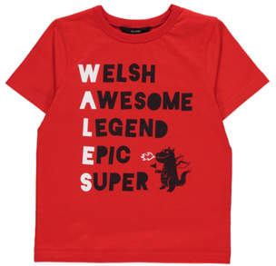 George Red Wales Slogan T-Shirt