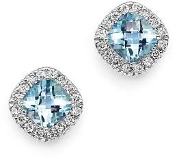 Bloomingdale's Aquamarine Cushion Cut and Diamond Stud Earrings in 14K White Gold - 100% Exclusive