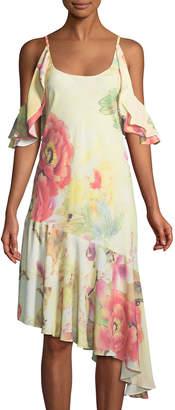 Natori Cold-Shoulder Floral Asymmetric Ruffle-Hem Dress