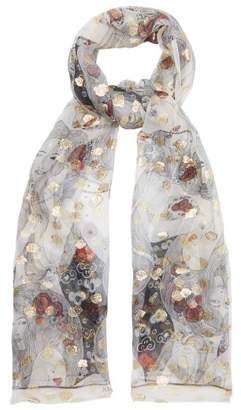 Alexander McQueen Printed Fil Coupe Silk Chiffon Scarf - Womens - Gold