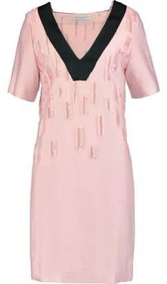 Amanda Wakeley Satin-trimmed Distressed Crepe Dress
