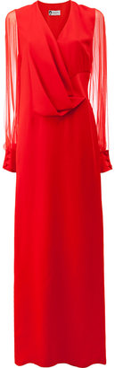 Lanvin sheer sleeve pleated detail gown $3,690 thestylecure.com