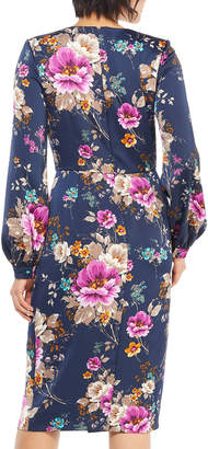 Maggy London Floral-Print Draped Charmeuse Dress
