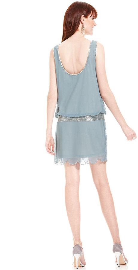 Adrianna Papell Dress, Sleeveless Beaded Scalloped Blouson