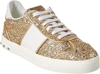Valentino Flycrew Glitter Leather Sneaker