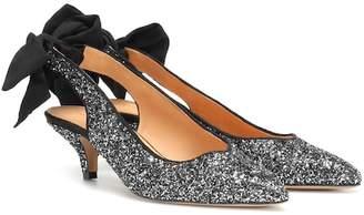 Ganni Bow Kitten Heel glitter pumps