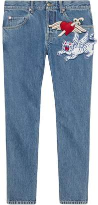 Gucci tapered denim trousers