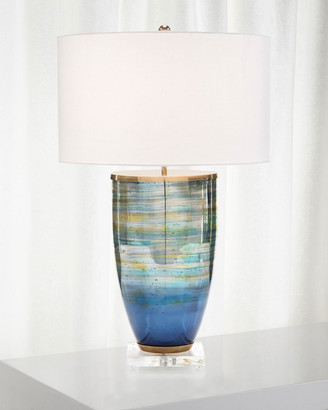 John-Richard Collection John Richard Collection Blue Striated Glass Table Lamp