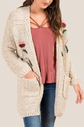 francesca's Jessica Hand Stitched Embroidered Cardigan - Taupe