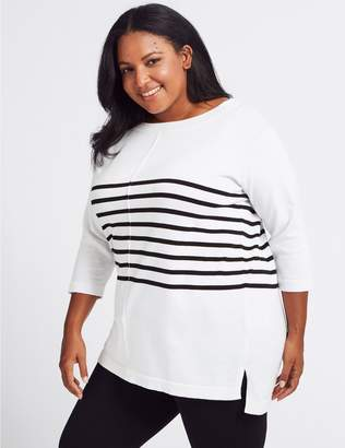 Marks and Spencer CURVE Pure Cotton Striped Longline Jumper
