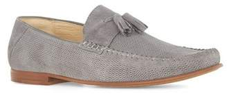 Topman Mens Grey Gray Suede Embossed Penny Loafers