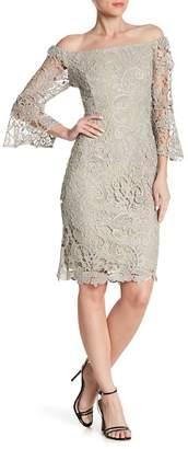 Marina Off-the-Shoulder Bell Sleeve Crochet Knit Dress