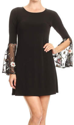 Ariella Embroidered Detail Bell Slv Dress