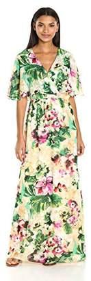 Chetta B Women's Floral Flutter Sleeve Maxi Dress