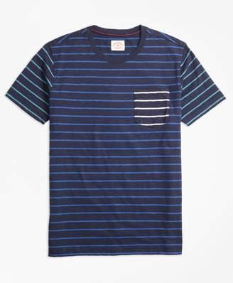 Brooks Brothers Stripe Slub Cotton Fun T-Shirt