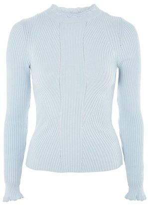Topshop Blue frill neck sweater