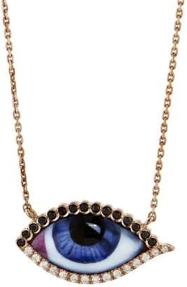 Lito Fine Jewelry Petit Bleu Diamond Eye Necklace - Rose Gold