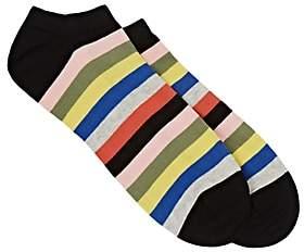 Corgi Men's Striped Cotton-Blend Ankle Socks-Black