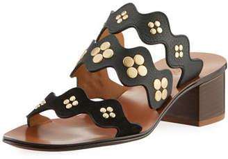 Chloé Lauren Studded Block-Heel Slide Sandal