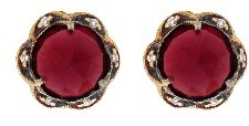 Cathy Waterman Garnet Scalloped Frame Stud Earrings