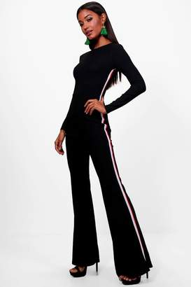 boohoo Sports Stripe Wide Leg Jumpsuit