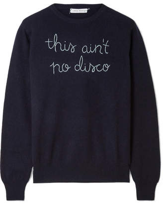 Lingua Franca - This Ain't No Disco Embroidered Cashmere Sweater - Navy