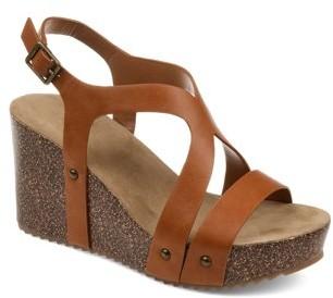 Brinley Co. Womens Faux Cork Strap Wedge Sandal