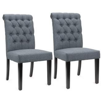 XtremepowerUS Sef of 2 Elegant Tufted Padded Victorian Dining Chair Set, Grey