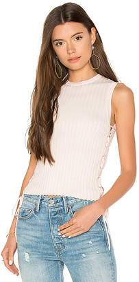 Autumn Cashmere Rib Side Lace Up Sweater in Pink $143 thestylecure.com