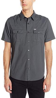 GUESS Men's Military Button Down Shirt
