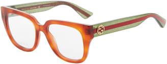 Gucci GG0037/O Tortoiseshell-Like Square Sunglasses