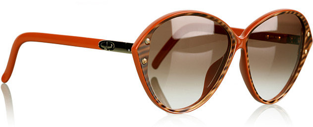 Christian Dior Vintage Brown Plastic Cats Eye Sunglasses