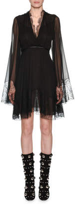 Giambattista Valli V-Neck Bell-Sleeve Empire-Waist Silk Dress w/ Lace
