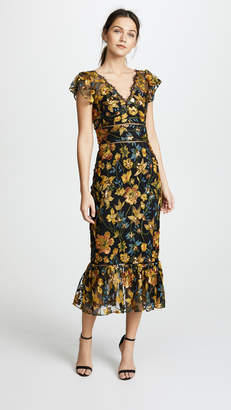 Marchesa Embroidered Cocktail Dress with Flutter Sleeves