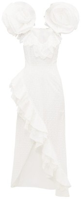 Rodarte Exaggerated Shoulder Broderie Anglaise Cotton Gown - Womens - White
