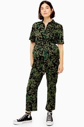 Topshop Womens **Maternity Animal Print Jumpsuit - Khaki