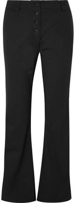 Proenza Schouler Cropped Stretch-wool Twill Flared Pants - Black