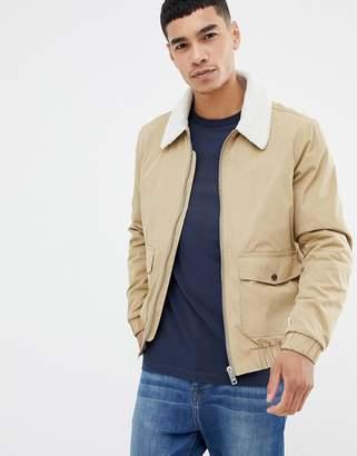 Jack Wills Forton nylon aviator jacket with fleece collar in khaki