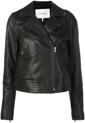 Frame zipped leather jacket