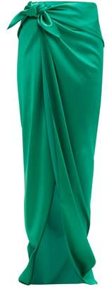 Balenciaga Stretch Satin Wrap Skirt - Womens - Green