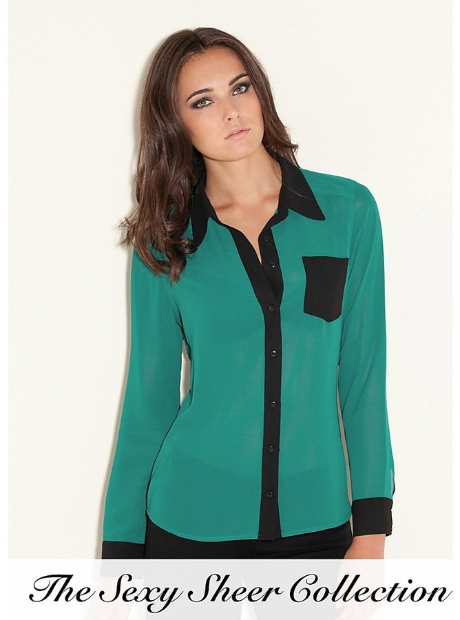 GUESS Color-Blocked Dress Shirt