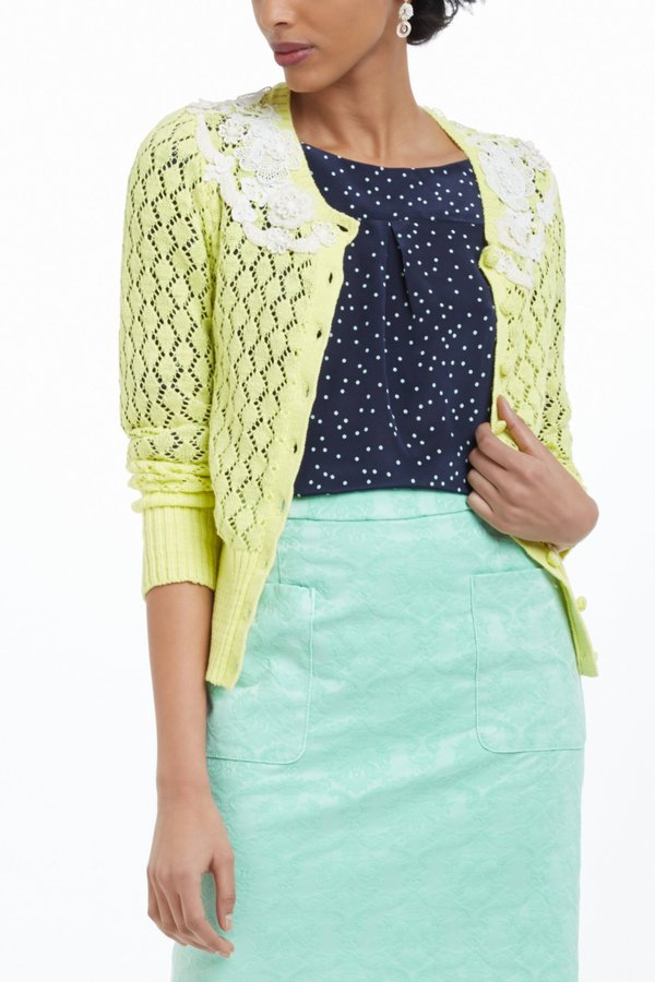 Anthropologie Lace Valance Cardigan