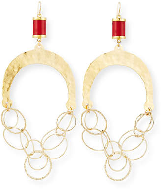 Devon Leigh Hammered Chain & Coral Chandelier Earrings