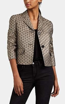 Prada Women's Metallic Brocade Crop Two-Button Blazer - Gold