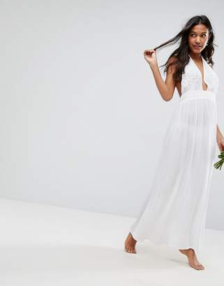 Asos Design DESIGN BRIDAL Beach Maxi With Applique Detail