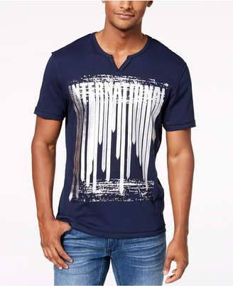 INC International Concepts I.n.c. Men's Metallic Graphic Split-Neck T-Shirt, Created for Macy's