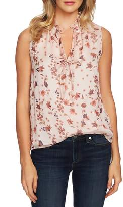CeCe Bohemian Garden Tie Neck Sleeveless Blouse