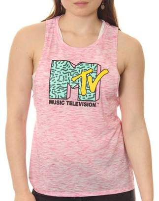 MTV Juniors' Classic Logo Space Dye Muscle Graphic Tank Top With Side Slit and Hi Low Split Step