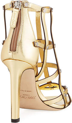 Jimmy Choo Tina Studded Metallic Leather Cage Sandals