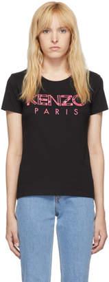 Kenzo Black Roses Logo Slim T-Shirt